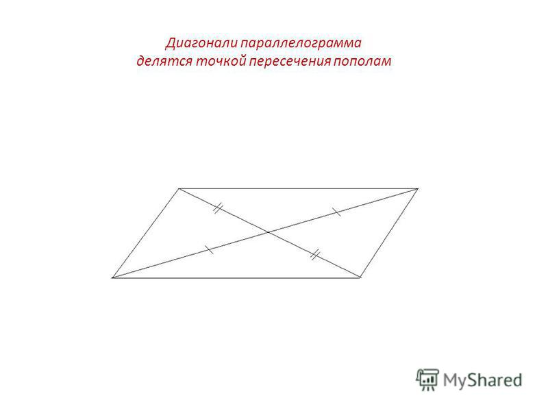 Диагонали параллелограмма делятся точкой пересечения пополам