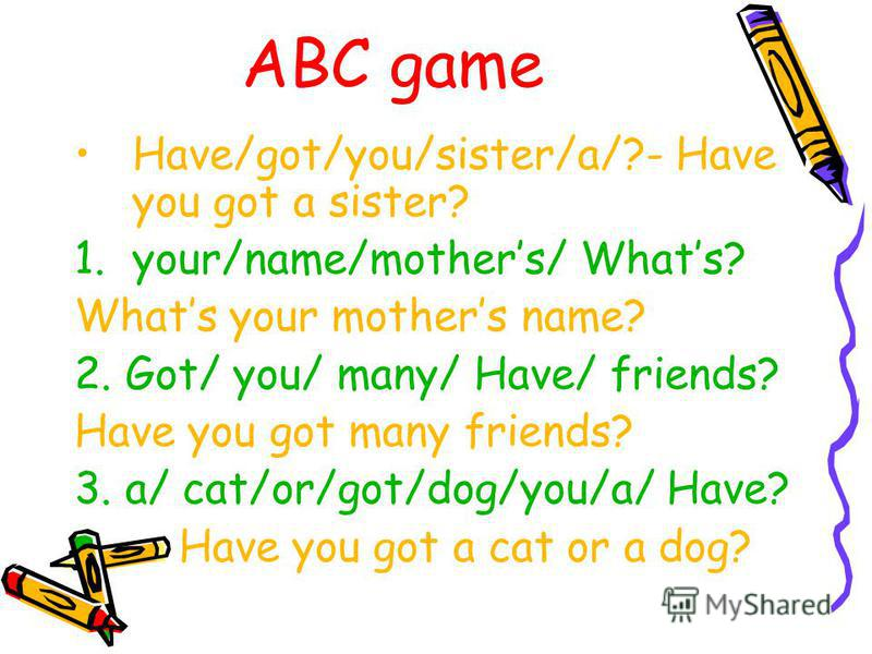 ABC game haveyougotmanyfriends- Have you got many friends? 1.Howmanyfriendshaveyougot How many friends have you got? 2. whosyourbestfriend Who is your best friend?