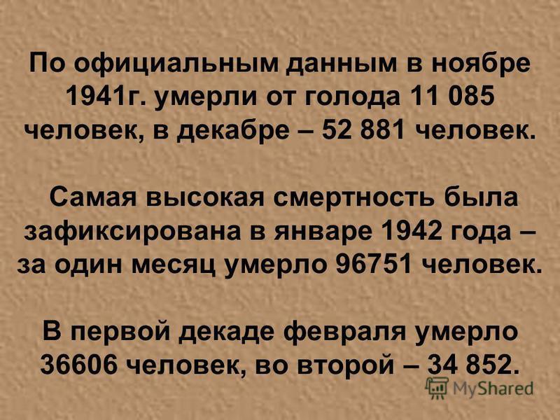 По официальным данным в ноябре 1941 г. умерли от голода 11 085 человек, в декабре – 52 881 человек. Самая высокая смертность была зафиксирована в январе 1942 года – за один месяц умерло 96751 человек. В первой декаде февраля умерло 36606 человек, во