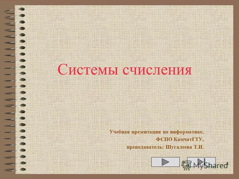 Системы счисления Учебная презентация по информатике, ФСПО КамчатГТУ, преподаватель: Шугалеева Т.И. 1