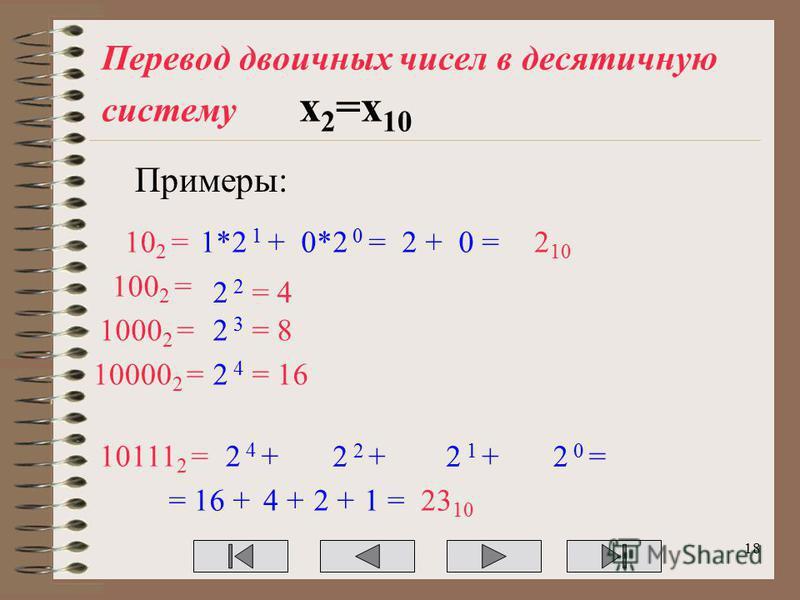 Перевод двоичных чисел в десятичную систему х 2 =х 10 Примеры: 10 2 =1*2 1 +0*2 0 =2 +0 =2 10 100 2 = 2 2 = 4 10111 2 =2 4 + 2 2 +2 1 +2 0 = = 16 +4 +2 +1 =23 10 1000 2 =2 3 = 8 10000 2 =2 4 = 16 18