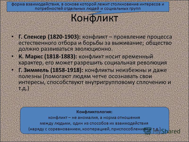 Г. Спенсер (1820-1903): конфликт – проявление процесса естественного отбора и борьбы за выживание; общество должно развиваться эволюционно. К. Маркс (1818-1883): конфликт носит временный характер, его может разрешить социальная революция Г. Зиммель (