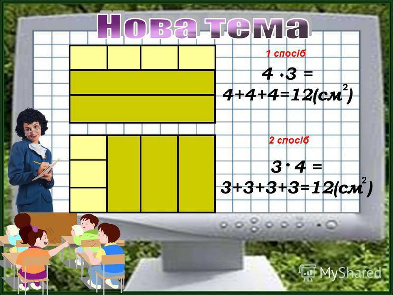 1 спосіб 2 спосіб 4 3 = 4+4+4=12(см ) 3 4 = 3+3+3+3=12(см ) 2 2