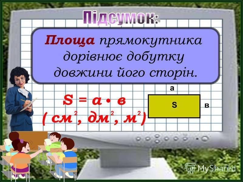 Площа прямокутника дорівнює добутку довжини його сторін. а вS S = а в ( см, дм, м ) 222