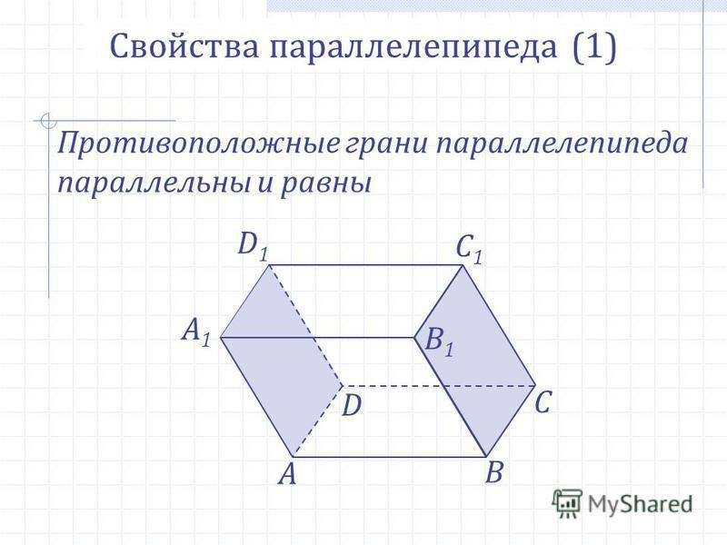 А В С А1А1 D D1D1 B1B1 C1C1 Свойства параллелепипеда (1) Противоположные грани параллелепипеда параллельны и равны