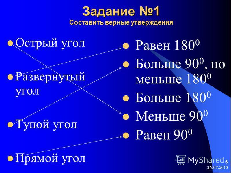 6 Задание 1 Составить верные утверждения Острый угол Развернутый угол Тупой угол Прямой угол Равен 180 0 Больше 90 0, но меньше 180 0 Больше 180 0 Меньше 90 0 Равен 90 0