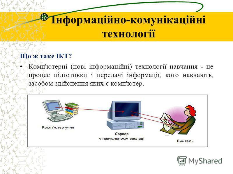 Інформаційно-комунікаційні технології Що ж таке ІКТ? Комп'ютерні (нові інформаційні) технології навчання - це процес підготовки і передачі інформації, кого навчають, засобом здійснення яких є комп'ютер.