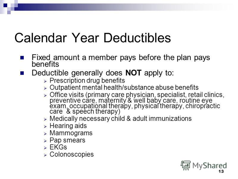 13 Calendar Year Deductibles Fixed amount a member pays before the plan pays benefits Deductible generally does NOT apply to: Prescription drug benefits Outpatient mental health/substance abuse benefits Office visits (primary care physician, speciali