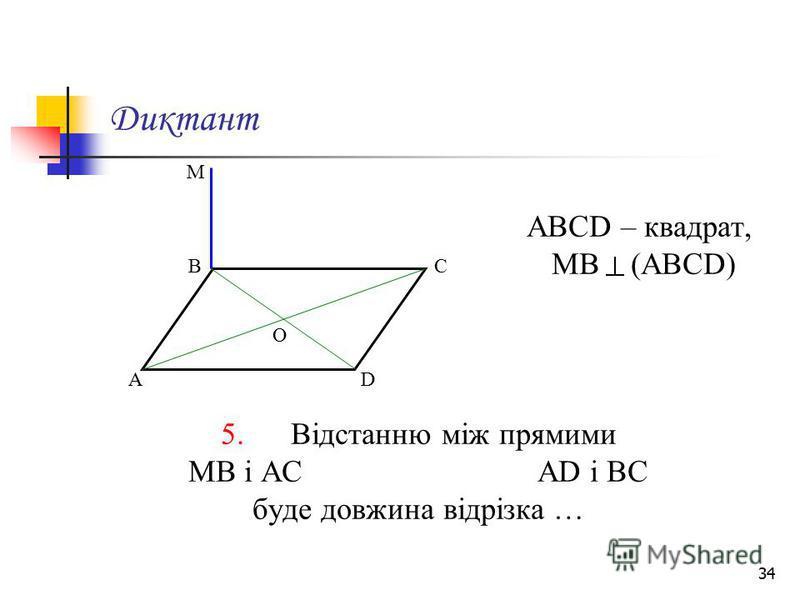 34 Диктант АВСD – квадрат, МВ (АВСD) 5. Відстанню між прямими МВ і АС АD і ВС буде довжина відрізка … М А ВС D О