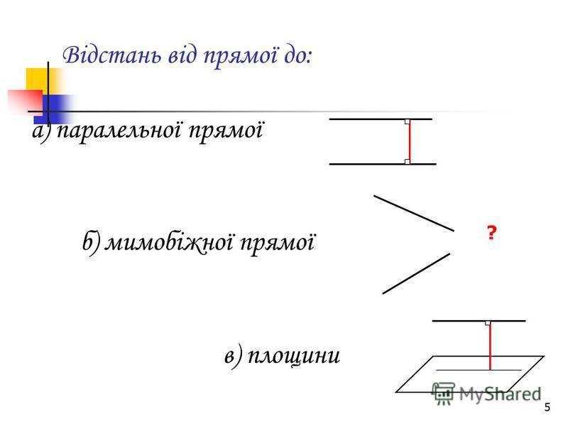 5 Відстань від прямої до: а) паралельної прямої б) мимобіжної прямої в) площини ?