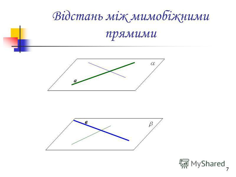 7 Відстань між мимобіжними прямими а в