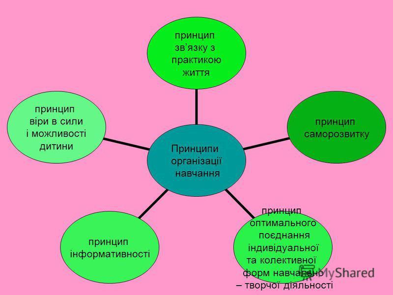 Принципи організації навчання принцип звязку з практикою життя принцип саморозвитку принцип оптимального поєднання індивідуальної та колективної форм навчально – творчої діяльності принцип інформативності принцип віри в сили і можливості дитини