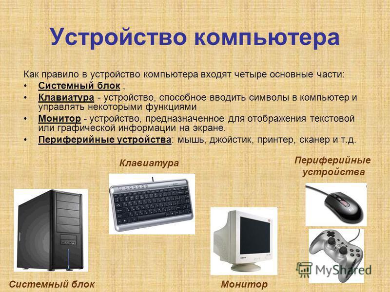 Устройство компьютера Как правило в устройство компьютера входят четыре основные части: Системный блок ; Клавиатура - устройство, способное вводить символы в компьютер и управлять некоторыми функциями Монитор - устройство, предназначенное для отображ