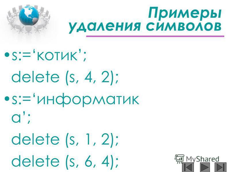 Примеры удаления символов s:=котик; delete (s, 4, 2); s:=информатик а; delete (s, 1, 2); delete (s, 6, 4);