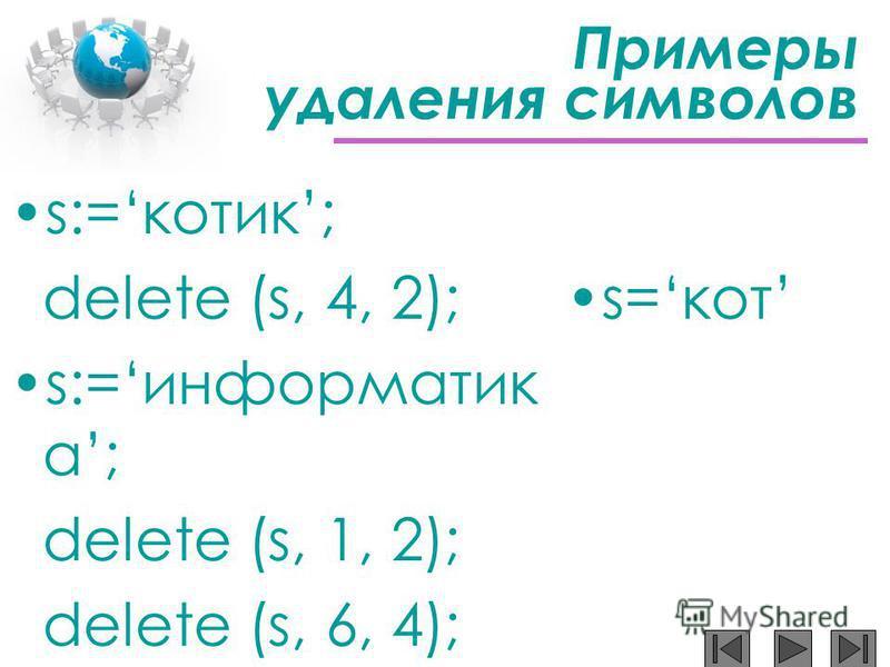 Примеры удаления символов s:=котик; delete (s, 4, 2); s:=информатик а; delete (s, 1, 2); delete (s, 6, 4); s=кот