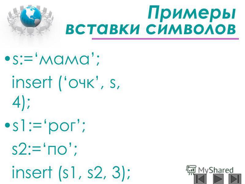 Примеры вставки символов s:=мама; insert (очкиии, s, 4); s1:=рог; s2:=по; insert (s1, s2, 3);