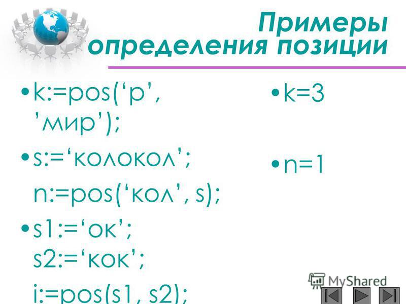 Примеры определения позиции k:=pos(р,мир); s:=колокол; n:=pos(кол, s); s1:=ок; s2:=кок; i:=pos(s1, s2); k:=pos(п,мама); k=3 n=1
