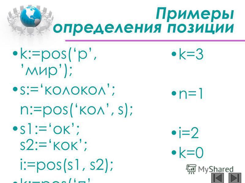 Примеры определения позиции k:=pos(р,мир); s:=колокол; n:=pos(кол, s); s1:=ок; s2:=кок; i:=pos(s1, s2); k:=pos(п,мама); k=3 n=1 i=2 k=0