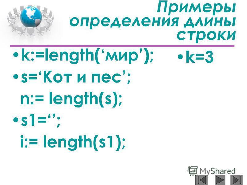 Примеры определения длины строки k:=length(мир); s=Кот и пес; n:= length(s); s1=; i:= length(s1); k=3