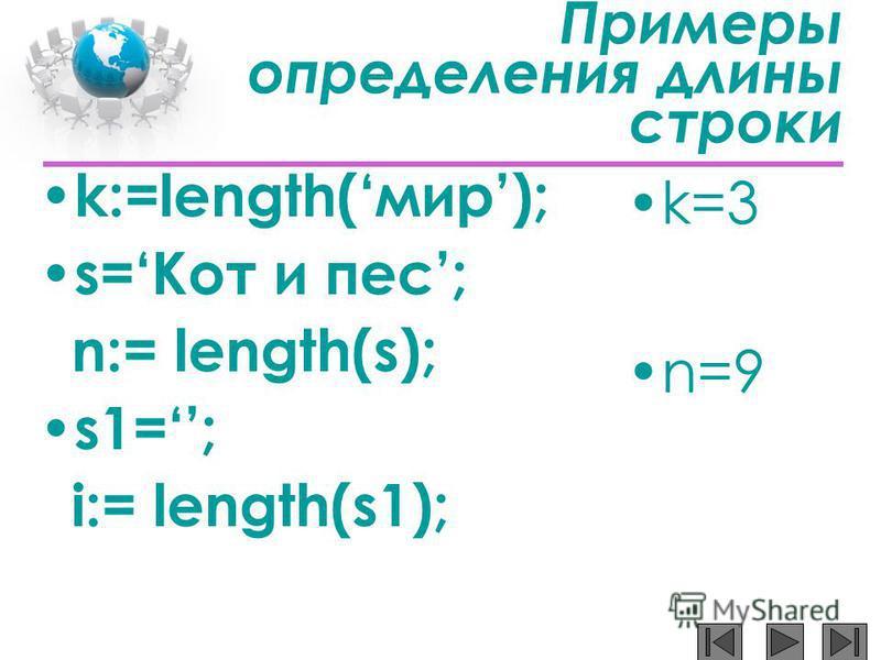 Примеры определения длины строки k:=length(мир); s=Кот и пес; n:= length(s); s1=; i:= length(s1); k=3 n=9