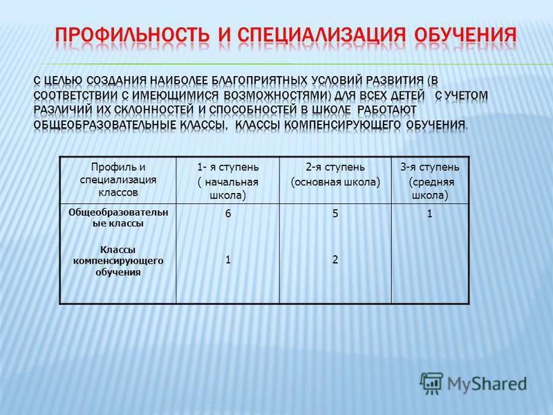 Профиль и специализация классов 1- я ступень ( начальная школа) 2-я ступень (основная школа) 3-я ступень (средняя школа) Общеобразовательн ые классы Классы компенсирующего обучения 6161 5252 1