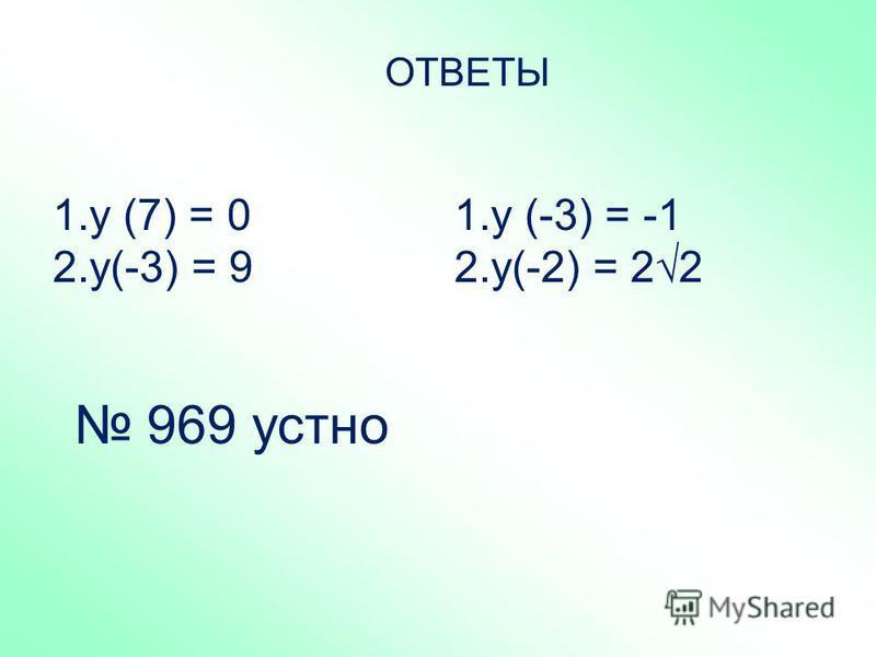 ОТВЕТЫ 1. у (7) = 0 2.у(-3) = 9 1. у (-3) = -1 2.у(-2) = 22 969 устно