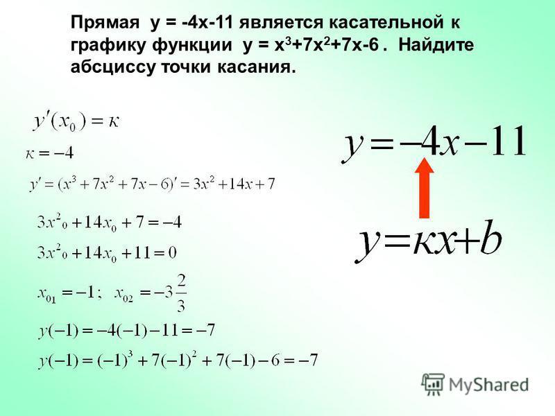 Прямая у = -4 х-11 является касательной к графику функции у = х 3 +7 х 2 +7 х-6. Найдите абсциссу точки касания.