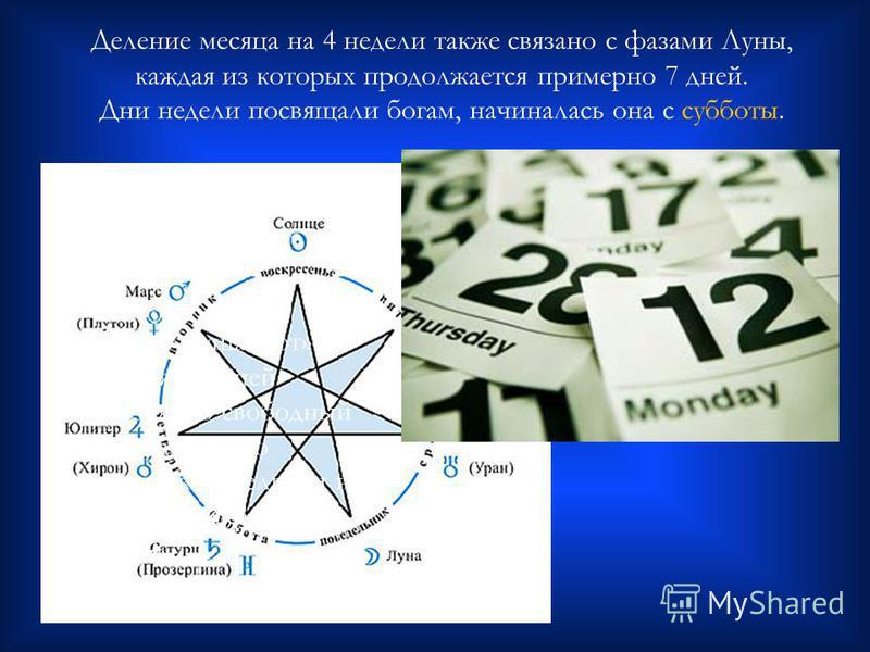 Деление месяца на 4 недели также связано с фазами Луны, каждая из которых продолжается примерно 7 дней. Дни недели посвящали богам, начиналась она с субботы. « Шаббат» и «шабот» слышатся в нашей «субботе», но свободный от трудов день по христианской