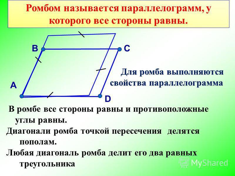 Ромбом называется параллелограмм, у которого все стороны равны. А Для ромба выполняются свойства параллелограмма Для ромба выполняются свойства параллелограмма В ромбе все стороны равны и противоположные углы равны. Диагонали ромба точкой пересечения