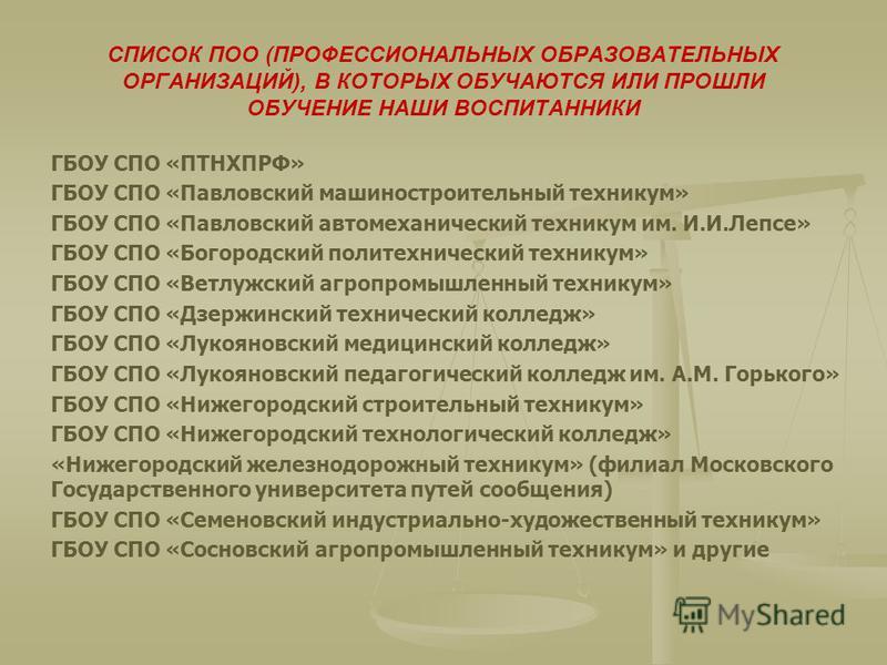 СПИСОК ПОО (ПРОФЕССИОНАЛЬНЫХ ОБРАЗОВАТЕЛЬНЫХ ОРГАНИЗАЦИЙ), В КОТОРЫХ ОБУЧАЮТСЯ ИЛИ ПРОШЛИ ОБУЧЕНИЕ НАШИ ВОСПИТАННИКИ ГБОУ СПО «ПТНХПРФ» ГБОУ СПО «Павловский машиностроительный техникум» ГБОУ СПО «Павловский автомеханический техникум им. И.И.Лепсе» ГБ