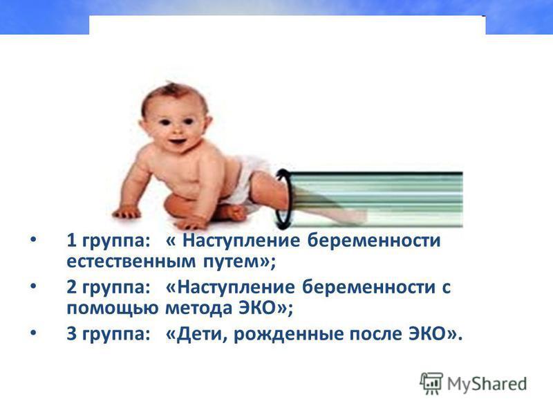 1 группа: « Наступление беременности естественным путем»; 2 группа: «Наступление беременности с помощью метода ЭКО»; 3 группа: «Дети, рожденные после ЭКО».