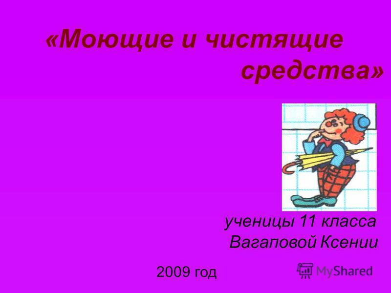 «Моющие и чистящие средства» ученицы 11 класса Вагаповой Ксении 2009 год