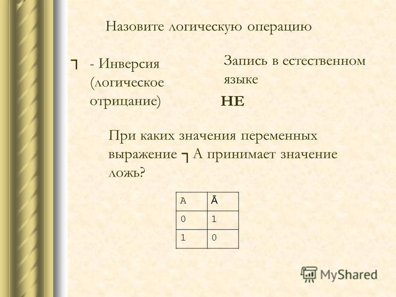 Назовите логическую операцию А Ā 01 10 - Инверсия (логическое отрицание) При каких значения переменных выражение А принимает значение ложь? Запись в естественном языке НЕ