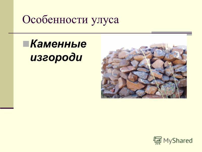 Особенности улуса Каменные изгороди