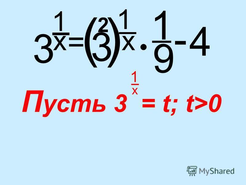 3 1 _ x = 1 x 4 _ - 1 _ 9 3 () 2 П усть 3 = t; t>0 1 _ x