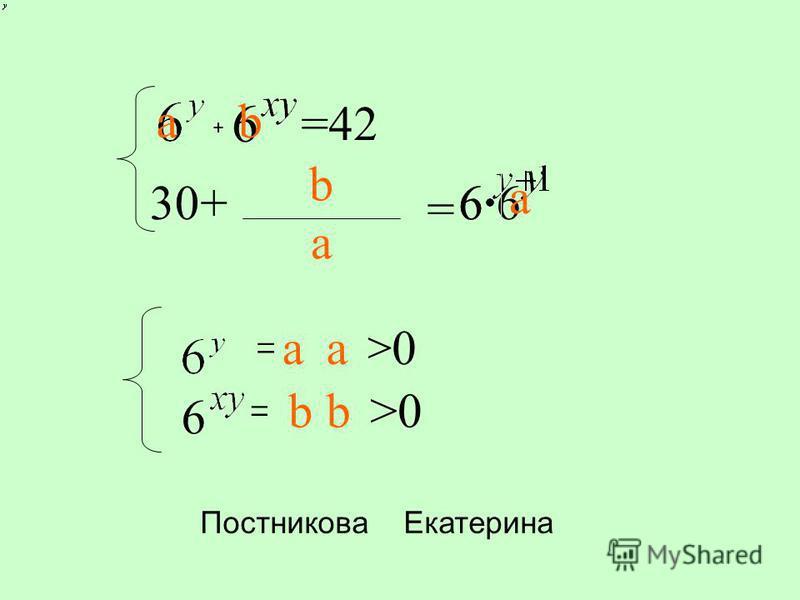 + 6 =42 6630+6666 = = a, a>0 6 =b,b>0 a b a b ab a baba Постникова Екатерина