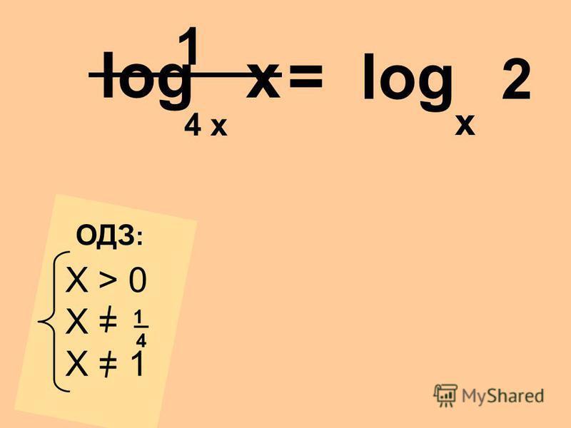 log x 4 x x X > 0 X = X = 1 _4_4 1 ОДЗ : = log 2 1