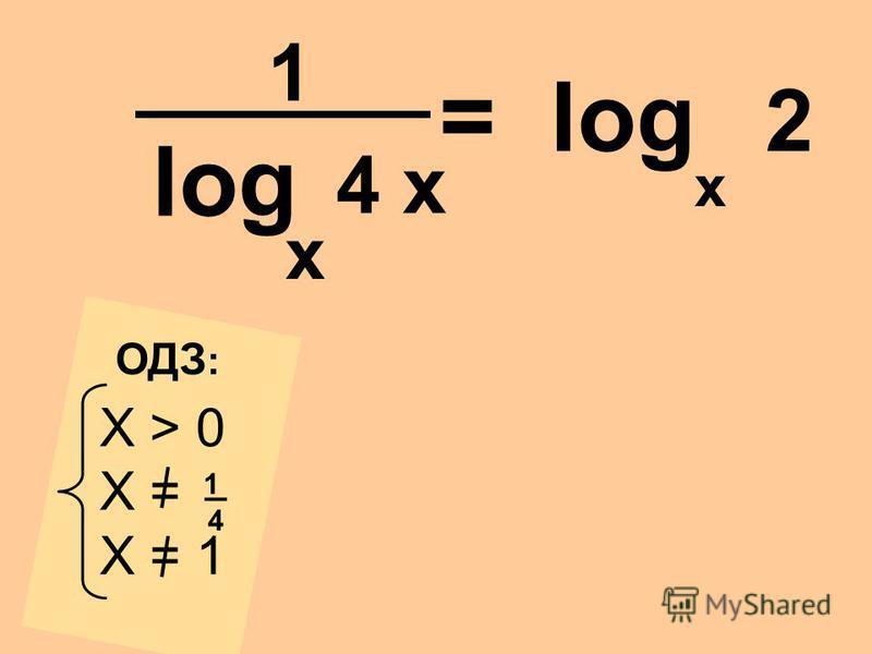log 4 x x X > 0 X = X = 1 _4_4 1 ОДЗ : = log 2 1 x