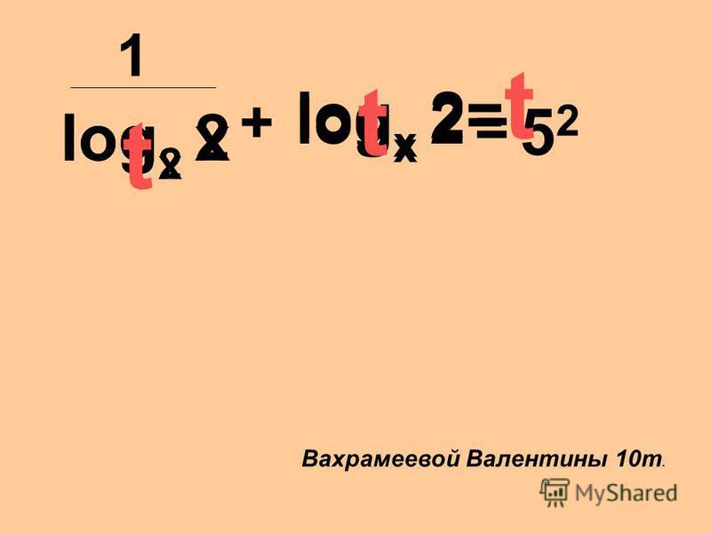 log x 2 + log 2 x = 5252 1 log x 2 log x 2= t t t Вахрамеевой Валентины 10 т.