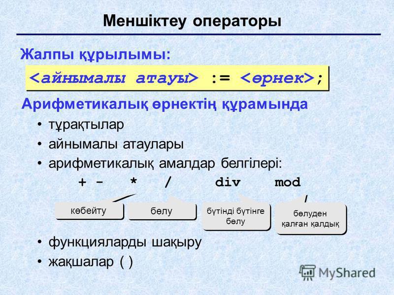 Меншіктеу операторы Жалпы құрылымы: Арифметикалық өрнектің құрамында тұрақтылар айнымалы атаулары арифметикалық амалдар белгілері: + - * / div mod функцияларды шақыру жақшалар ( ) көбейту бөлу бүтінді бүтінге бөлу бөлуден қалған қалдық := ;