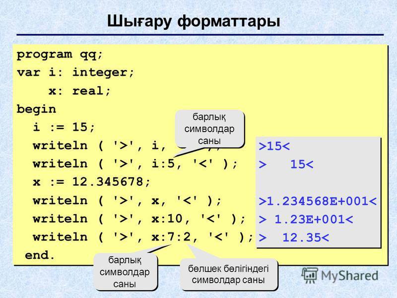 Шығару форматтары program qq; var i: integer; x: real; begin i := 15; writeln ( '>', i, '<' ); writeln ( '>', i:5, '<' ); x := 12.345678; writeln ( '>', x, '<' ); writeln ( '>', x:10, '<' ); writeln ( '>', x:7:2, '<' ); end. program qq; var i: intege