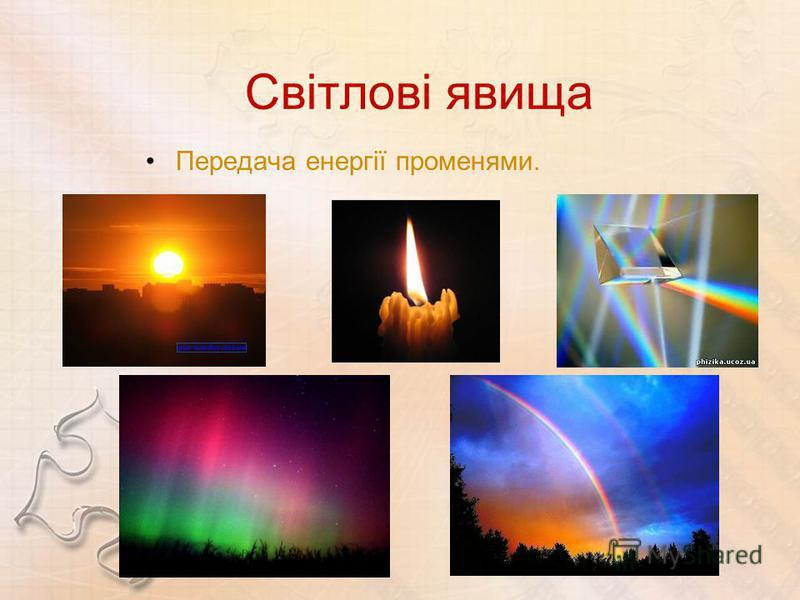 Світлові явища Передача енергії променями.
