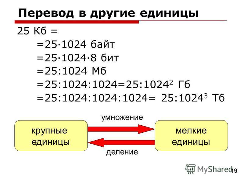 Перевод в другие единицы 25 Кб = =25·1024 байт =25·1024·8 бит =25:1024 Мб =25:1024:1024=25:1024 2 Гб =25:1024:1024:1024= 25:1024 3 Тб 19 крупные единицы мелкие единицы деление умножение
