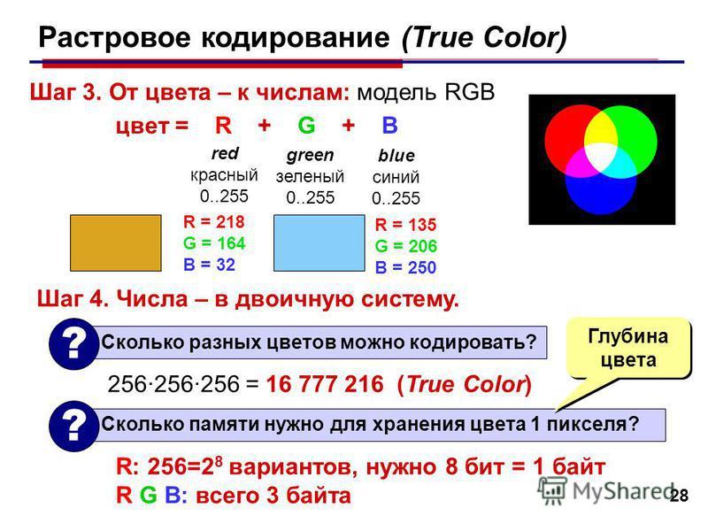 28 Растровое кодирование (True Color) Шаг 3. От цвета – к числам: модель RGB цвет = R + G + B red красный 0..255 blue синий 0..255 green зеленый 0..255 R = 218 G = 164 B = 32 R = 135 G = 206 B = 250 Шаг 4. Числа – в двоичную систему. Сколько памяти н