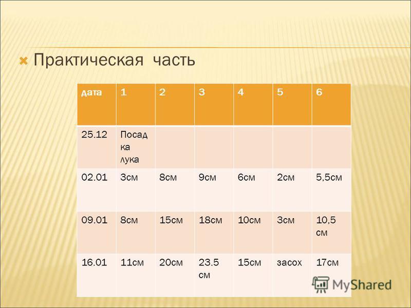 Практическая часть дата 123456 25.12Посад ка лука 02.013 см 8 см 9 см 6 см 2 см 5,5 см 09.018 см 15 см 18 см 10 см 3 см 10,5 см 16.0111 см 20 см 23.5 см 15 см засох 17 см
