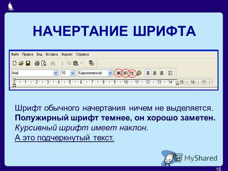 15 НАЧЕРТАНИЕ ШРИФТА Шрифт обычного начертания ничем не выделяется. Полужирный шрифт темнее, он хорошо заметен. Курсивный шрифт имеет наклон. А это подчеркнутый текст.