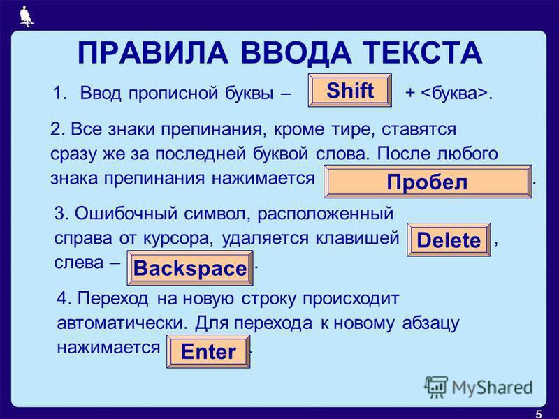 5 ПРАВИЛА ВВОДА ТЕКСТА 1. Ввод прописной буквы – +. Shift 2. Все знаки препинания, кроме тире, ставятся сразу же за последней буквой слова. После любого знака препинания нажимается. Пробел 3. Ошибочный символ, расположенный справа от курсора, удаляет