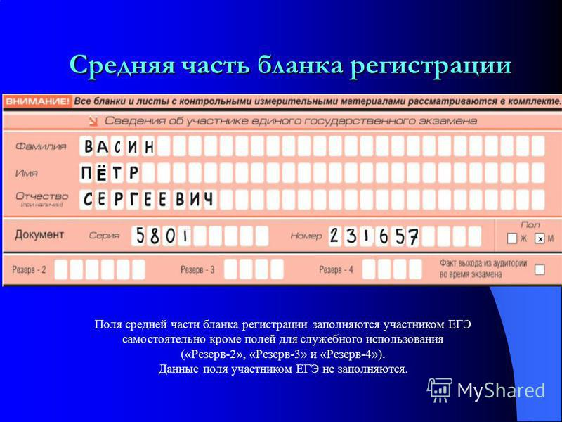 Верхняя часть бланка регистрации Поля верхней части бланка регистрации, кроме полей для служебного использования (поля «Служебная отметка», «Резерв- 1»), заполняются по указанию ответственного организатора в аудитории