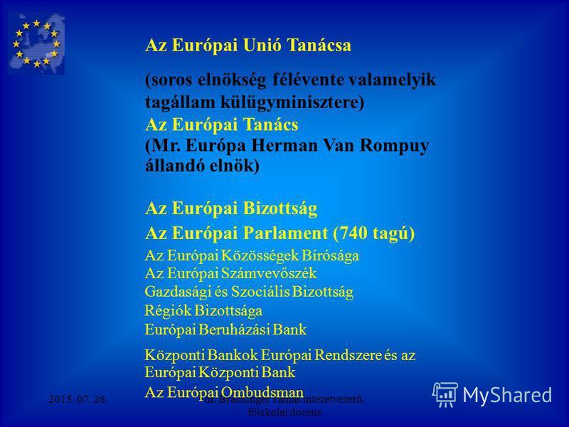 Az Európai Unió szerkezeti modellje Európai Unió Európai Tanács Miniszterek Tanácsa 1. pillér Európai Közösségek (gazdaságpoli tika) szupranacionális jelleg (Bizottság, Parlament, Bíróság) önálló jogalanyiság min. többségi döntés 2. pillér Közös kül-