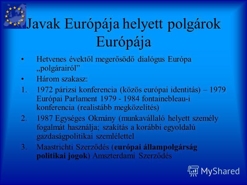 Rögvalóság Valóban elegendőek a közös kulturális alapok? Mivel: Kétsebességes Európa gondolata, amely nagyon is a reálfolyamatok alapján és nem a közös identitás a szolidaritás alapján jött létre. Tény: háborúk 60 éve nincsenek Európában a közösség o
